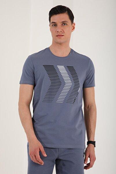 Tommy Life Erkek Petrol Çift Renk Ok Desen Baskılı Rahat Form O Yaka T-shirt
