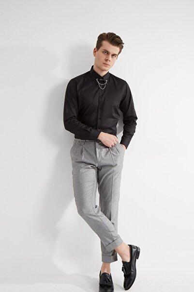 Fc Plus Erkek Siyah Yaka Yuvarlak Uçlu İğnesi Zincirli Pamuk Gömlek