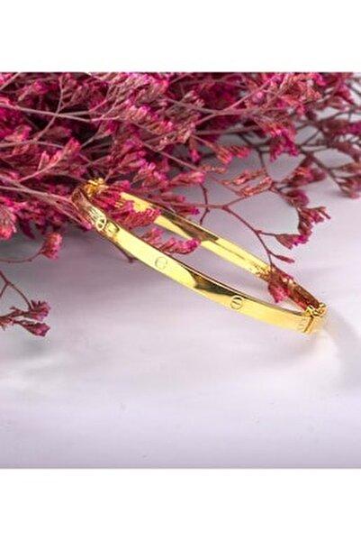 Kadın Altın Kaplama Kilitli Gümüş Kelepçe Modeli Bilezik