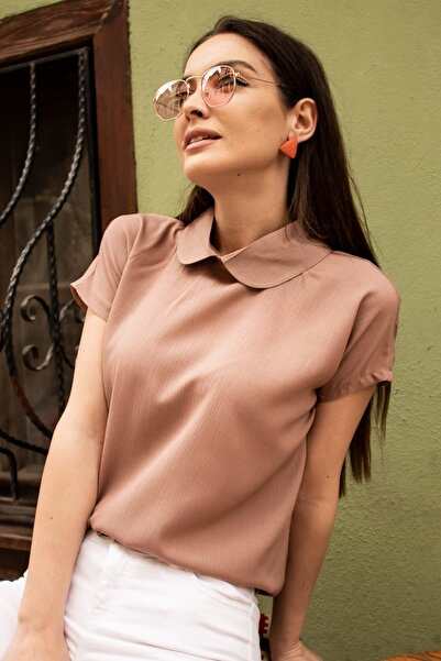 armonika Kadın Vizon Bebe Yaka Bluz ARM-19Y001064