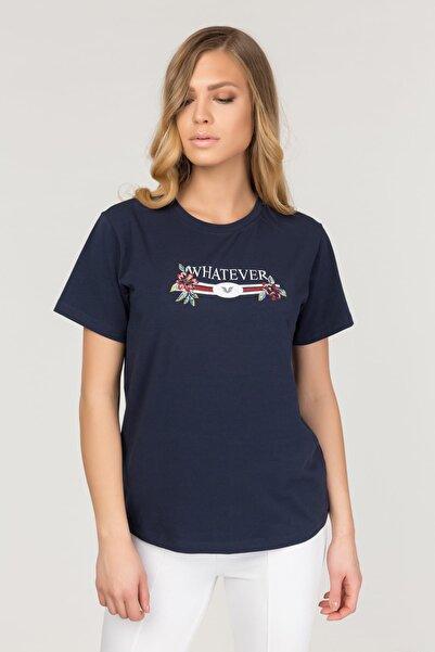 bilcee Lacivert Likralı Pamuklu Kadın T-Shirt FS-1111