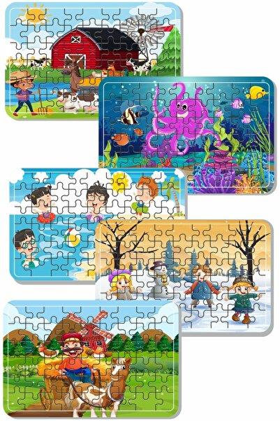 Baskı Atölyesi Çiftlik Hayvanları, Deniz, Tatil, Deniz Canlıları, Yılbaşı, Kardan Adam 54 Parça Ahşap Puzzle