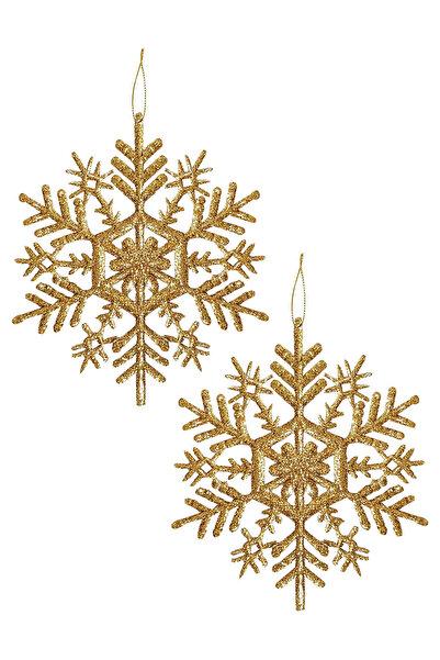 Kullan At Market Yılbaşı Ağacı Kar Tanesi Asma Süs 9 cm 12 li Altın