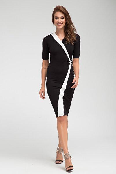 Laranor Kadın Siyah Asimetrik Kesim Garni Detaylı Elbise 17L5339