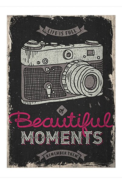 Cakatablo 35cmX50cm Ahşap Tablo Eski zeminde analog fotoğraf makinası