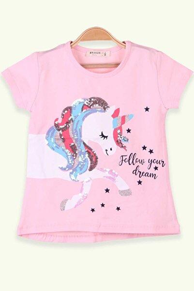 Breeze Kız Çocuk Pudra Unicorn Baskılı  T-Shirt