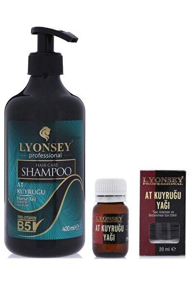 Lyonsey At Kuyruğu Saç Bakım Seti Şampuan 400 Ml + Saç Uzatıcı Bakım Yağı 20 Ml + Oval Saç Fırçası
