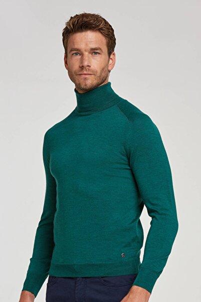 Hemington Erkek Koyu Yeşil Boğazlı Slim Fit  Merino Yün Triko Kazak