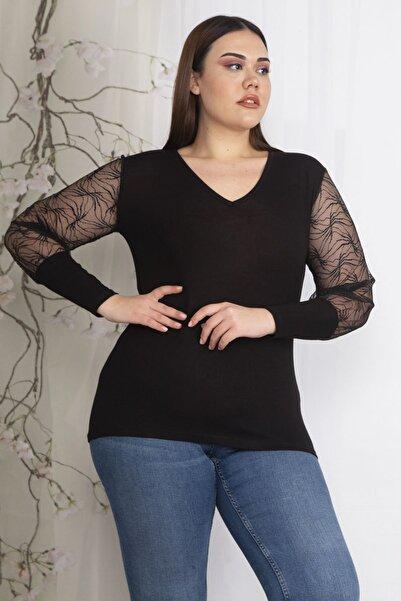 Şans Kadın Siyah Kolları Flok Tül Detaylı Bluz 65N22605