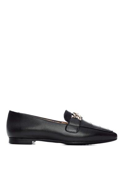 KEMAL TANCA Kadın Siyah Deri Babet Ayakkabı