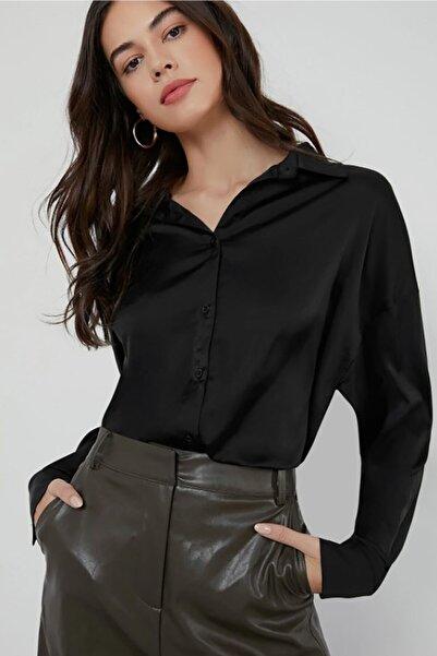 Madmext Kadın Siyah Saten Gömlek Mg920