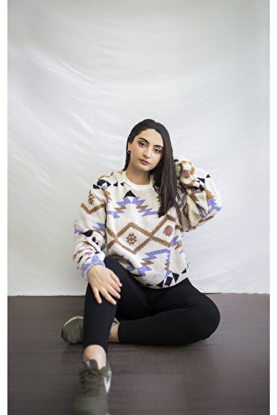 All Women & Men Kadın Ekru Peluş Etnik Desenli Sweatshirt