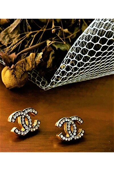 Elmas Dizayn Chanel Model Zirkon Taşlı Gold Küpe