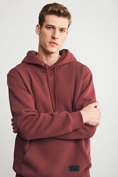 GRIMELANGE JORGE Erkek Kiremit Rengi Basic Kapüşonlu Sweatshirt