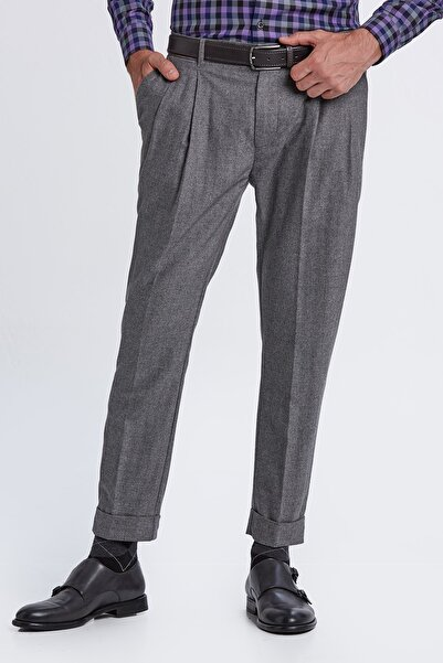 Hemington Erkek Açık Gri Yün Kaşmir Chino Pantolon