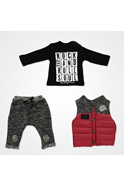 Miniworld Hippıl Baby Rock And Roll Yelekli Bebek Takımı 3 Parça - Bordo
