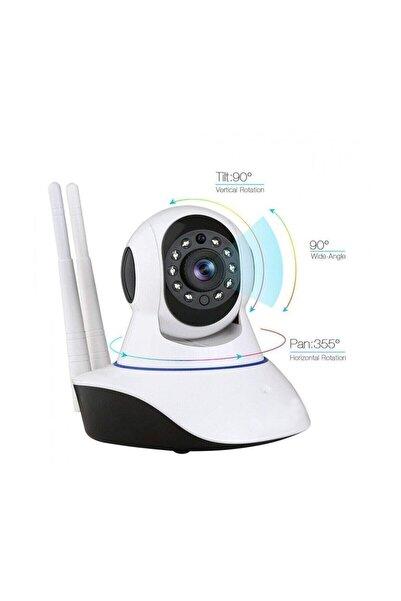 King Kablosuz Wifi İp Kamera 1080P Full HD 3 MP Hareketli Kamera Gece Görüşlü Beyaz