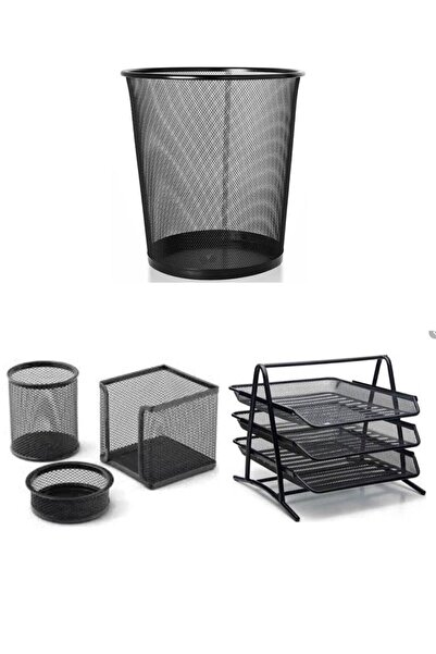 Globox Metal Ofis Seti Çöp Kovası+ Evrak Rafı + Masa Seti 3'lü Fx