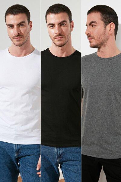 TRENDYOL MAN Çok Renkli Erkek Basic Slim Fit 3'lü Paket T-Shirt  TMNSS19BO0007