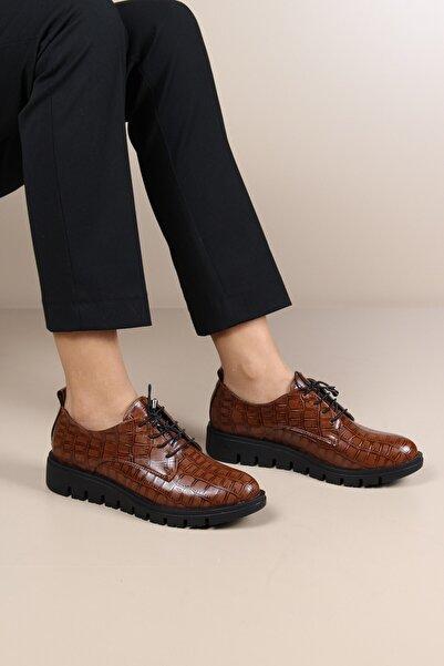 ayakPARK Günlük Kroko Desenli Taba Klasik Ofis Iş Kadın Ayakkabısı