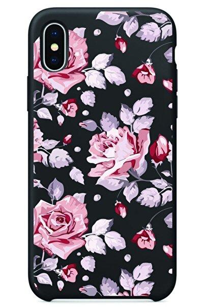 BECATİON Iphone Xmax Siyah Renkli Çiçek Desenli Baskılı Slikon Kılıf