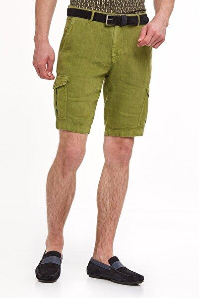 Hemington Erkek Saf Keten Yeşil Kargo Şort