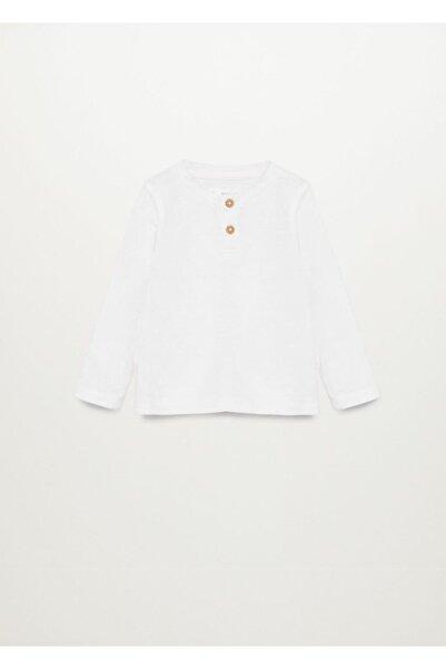 MANGO Baby Erkek Beyaz Organik Pamuklu Tişört