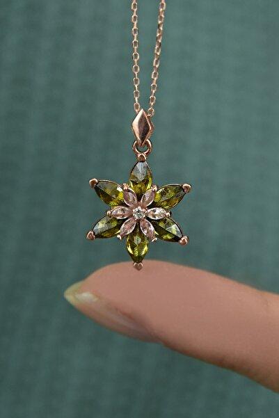 Papatya Silver 925 Ayar Gümüş Rose Kaplma Tepelikli Yeşil Lotus Kolye