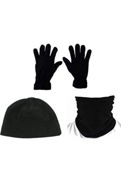 Silyon Askeri Giyim Polar Eldiven / Polar Bere Ve Polar Boyunluk Seti Siyah Renk Askeri Set