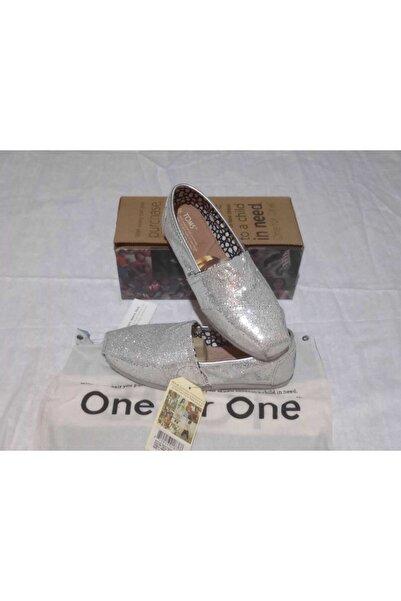 Toms Kadın Gümüş Renk Parlak Espadril Ayakkabı