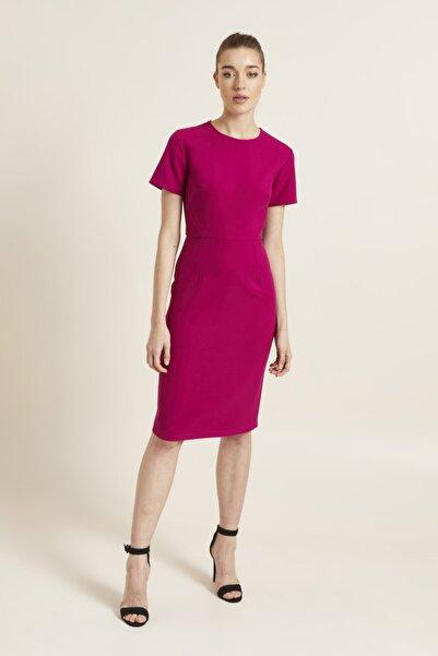 adL Kadın Fuşya Arkası Fermuarlı Kısa Kollu Elbise 12439334000