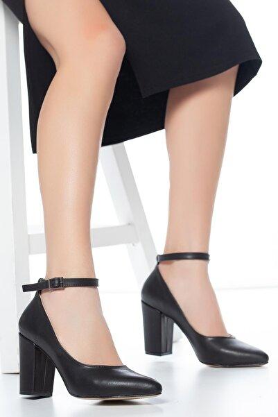 MUGGO Siyah Kadın Klasik Topuklu Ayakkabı DPRGZHWY705