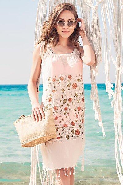 Dosimira Kadın Naturel Dalya Pamuklu Yakalı Plaj Elbisesi