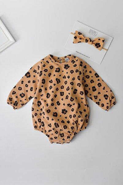 Banamio Kız Bebek Çocuk Leopar Desenli Pamuklu Romper Tulum (karamel)