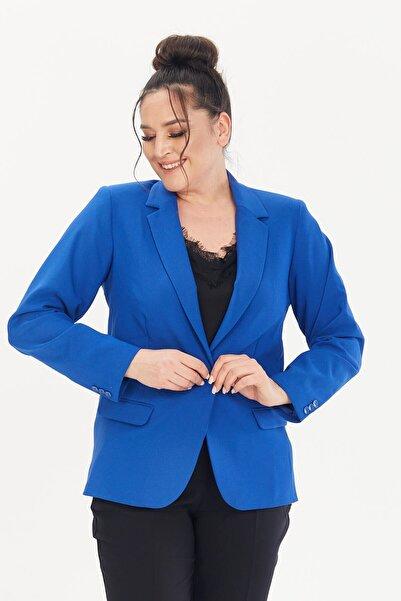 MYLİNE Kadın Mavi Büyük Beden Astarlı Blazer Ceket