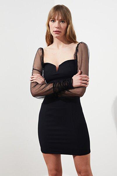 TRENDYOLMİLLA Siyah Kolları Tül Elbise TPRSS21EL0227