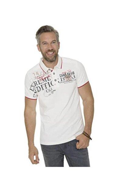 Camp David Erkek Beyaz Polo Yaka T-shirt