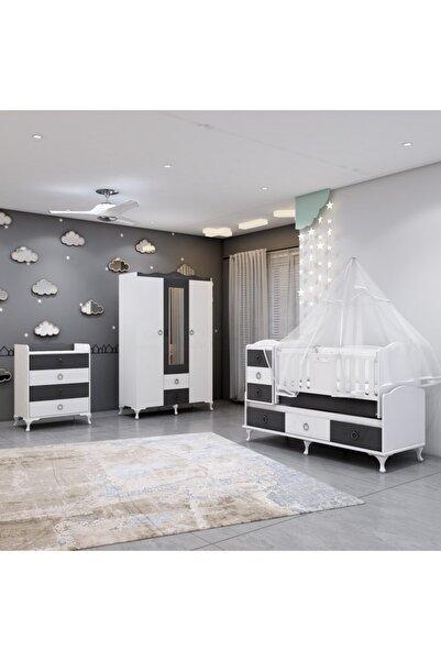 Garaj Home Elfin Gri Büyünen Asansörlü Bebek Odası Takımı - Yatak Ve Uyku Seti Kombinli
