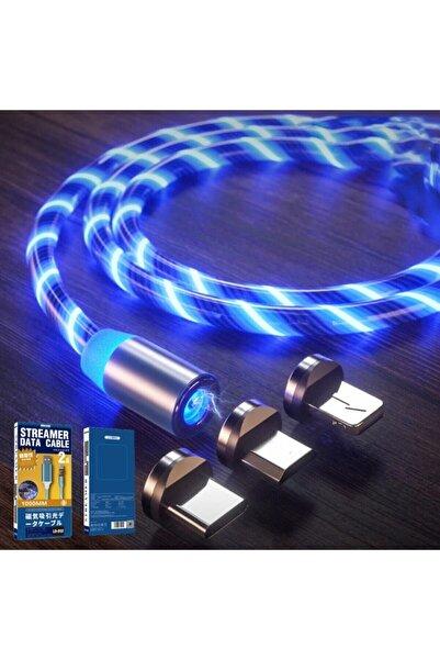 ucuzmi Optik Full Işıklı Mıknatıslı Örgülü Kablo 3in1 Type C Microusb Iphone 3'bir Arada Hızlı Şarj