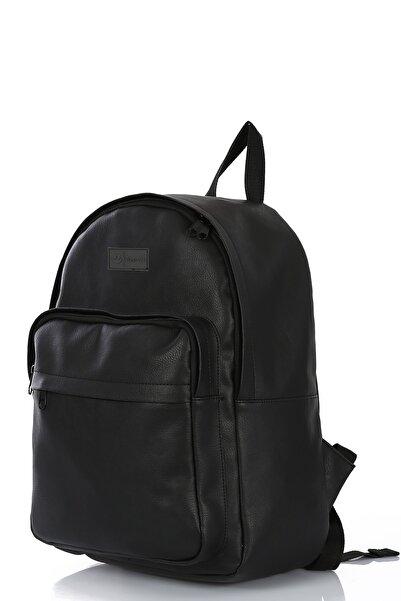 Bagslab Unisex Siyah Suni Deri Iç Laptop Gözlü Ve Cepli Sırt Ve Laptop Çantası(15')