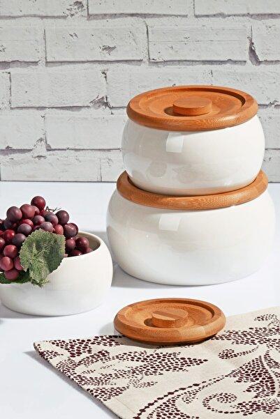 Kitchen World 3'lü Bambu Kapaklı Porselen Saklama Seti