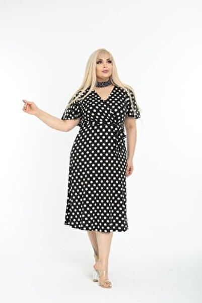 Kadın Siyah Puantiye Desenli Kruvaze Yaka Büyük Beden Elbise