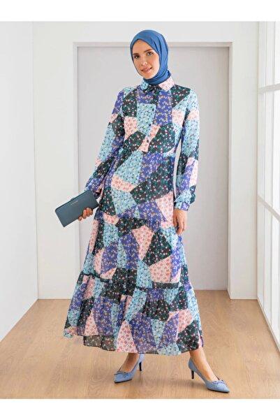 Loreen Kadın Lila Çiçek Desenli Elbise