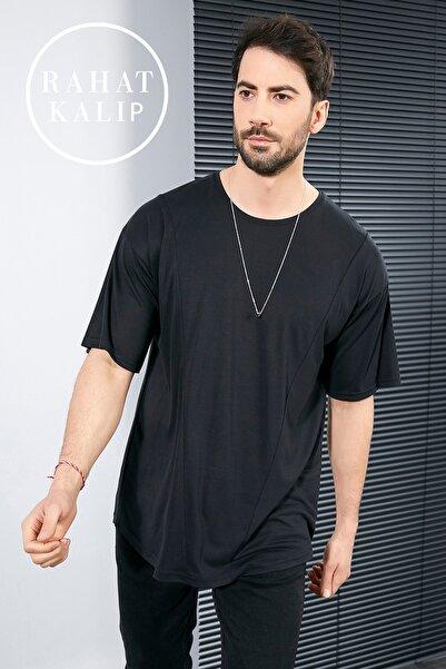 Sateen Men Erkek Siyah Oversize T-Shirt