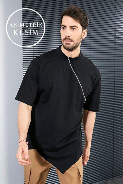 Sateen Men Erkek Siyah Fermuarlı T-Shirt