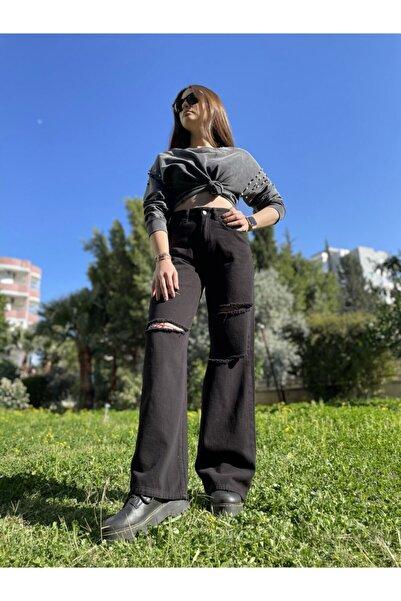 Quzu Kadın Bol Paça Yırtık Pantalon