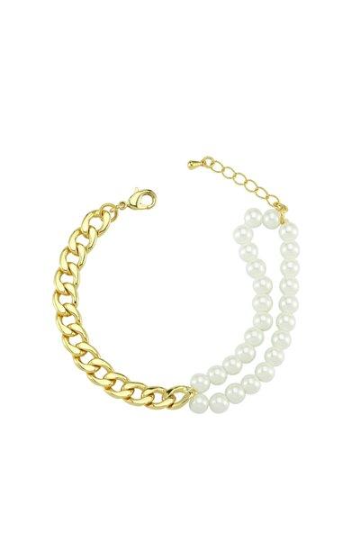 Luzdemia Duo Pearl Curb Bracelet - Gold