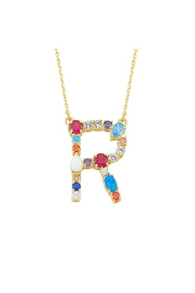 Luzdemia Kadın Çok Renkli Opal Initial R Harfi Kolye