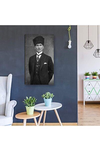 Tabloline Siyah Ve Beyaz Atatürk Portresi Kanvas Tablo Dekoratif Canvas Tablo