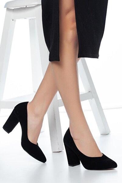 MUGGO Siyah Süet Kadın Klasik Topuklu Ayakkabı DPRGZHWY707